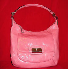 "COACH  F19299 Kristin Patent Leather Hobo ROSE Bag D-3.5"", H-10"" Free Shipping"