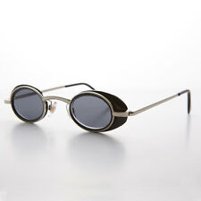 Small Oval Steampunk Goth Sunglasses with Side Shields Silver/Black - MARTY
