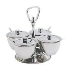 Stainless Steel Revolving Relish Server 4-Way Catering Cafe Kitchen Buffet