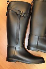 NEW Burberry Roscot Black Waterproof Rainboot Riding Flats Boots Shoes 40 9.5 10