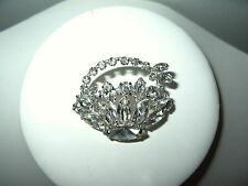 Pretty Vintage SHERMAN Silvertone & Clear Rhinestone Flower Basket Brooch Pin