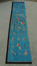 "ANTIQUE CHINESE QING DYNASTY FORBIDDEN STITCH SILK EMBROIDERY HANGING PANEL 78""L"
