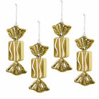 4 Shiny Gold Glitter Sweet 15cm Haning Christmas Tree Decorations Bauble New