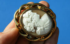 Antique Victorian Large Shell Cameo Portrait Swivel Brooch