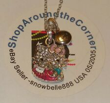 HELLO KITTY ZODIAC SCORPIO Sterling Silver Pave Crystal Enamel Pendant Necklace