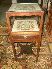 Vintage embroidered bedside table,2 glass shelves & drawer, collect NE46