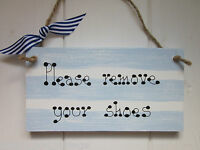 PLEASE REMOVE YOUR SHOES SIGN PLAQUE SEASIDE NAUTICAL Chic Vintage Shabby