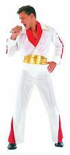 Para Hombre Blanco Elvis personificador Fancy Dress Costume Estrella De La Música Rock N Roll Outfit