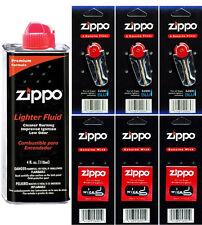 4 Ounce Fuel Fluid & 3 Packs Flint (18 Flints) & 3 Wicks for Zippo Lighters