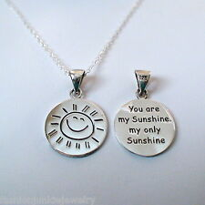 You Are My Sunshine Stamped Necklace 2 SIDED - 925 Sterling Silver Sun Love NEW