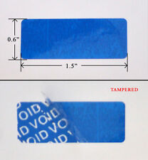 "2000 SECURITY LABEL STICKER BLUE 1.5""X .6"" VOID PATTERN RESIDUE IF TAMPERED WITH"