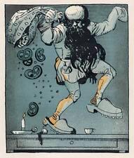 Der BÄCKER als BREZEL SÄHMANN - Julius DIETZ - Zinkätzung um 1910 JUGENDSTIL