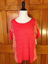 $88 New WE THE FREE PEOPLE Coral Pink Striped Crochet Lace Top sz Small S / P