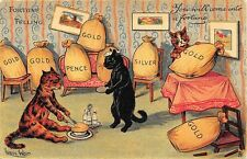 """Louis Wain Signed Cats Fortune Telling """"You Will Come into Fortune"""" Postcard"""