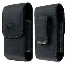 Black Vertical Leather Belt Clip Case Pouch Cover for LG REVERE VN150 Brand NEW
