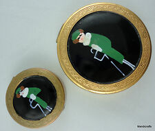 Matched Pair Powder & Rouge Vanity Pots Compact Set Painted Lady Art Deco Brass