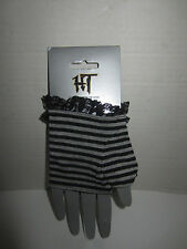 BLACK AND GRAY STRIPED WITH LACE GLOVES FROM HOT TOPIC