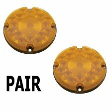 "Amber 17 LED 7"" Round Bus Truck RV Park Turn Signal  Lights (Pair)"