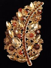 TAN BROWN RHINESTONE THANKSGIVING FALL AUTUMN LEAF LEAVES PIN BROOCH JEWELRY 4""