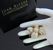 NEW Joan Rivers Crystal 21st Century QUEEN BEE PIN Brooch Gold LG Double Wing