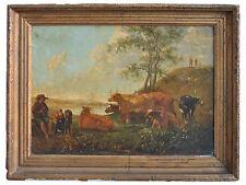 Scène pastorale peinture d'époque XVIIIème huile sur toile