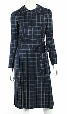 NORMAN NORELL TASSELL Vintage NWT Navy & White Windowpane Check Dress