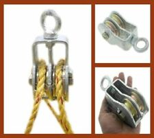 Wheel Rotating Hoist Cable Rope Double Pulley Roller Travel NeedCamping Climbing