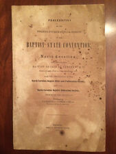 RARE 1853 North Carolina Baptist State Convention, Newbern, Raleigh, NC 1st ed.