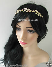 Gold Vintage Leaf Headband Olive Leaves Grecian Silver Diamante Chain Boho L56