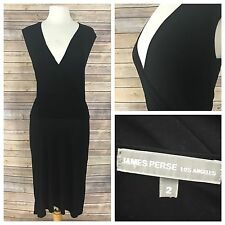 James Perse Women's Size 2 Black Knit Side Ruched V Neck  Dress Sleeveless