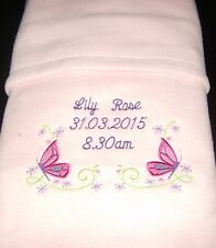 Personalised Baby Blanket, Butterfly & Flowers Design Pink Newborn Gift Girl
