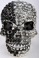 Black/Silver Skull Skeleton Open Jaw Stretch Ring Crystal Jewelry Halloween RD02