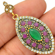 Turkish - Emerald, Ruby & Cz 925 Sterling Silver Pendant Jewelry SP218692