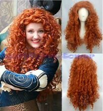 Brave Merida Curly Wavy Costume Wigs Orange Hair Fashion Cosplay Party Long Wig