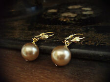 Vintage Gold,Oyster Round Pearl Drop Hook Pierced Earrings