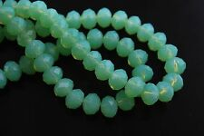 30Pcs Jade Green Crystal Glass Faceted Rondelle Beads 8mm Spacer Finding Charms