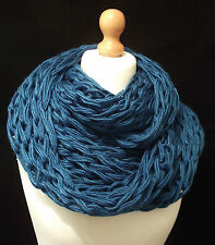 Ultimate So Super Chunky Knit Blue Snood Infinity Scarf Wrap - Statement Scarf!
