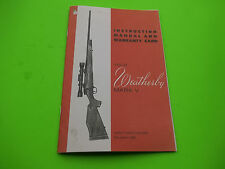 WEATHERBY MARK V BOLT ACTION RIFLE INSTRUCTION OWNERS MANUAL,Ten pages of info