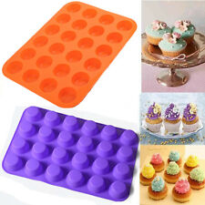 Mini 24 Cavity Muffin Cup Silicone Cookies Cupcake Soap Bakeware Tray Mould Pan