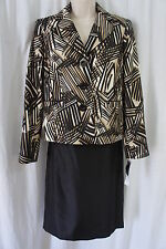 Evan Picone Petite Suit Sz 14P Black Multi Port Elizabeth Taffeta Skirt Suit