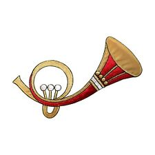 ID 9194 Natural French Horn Musical Band Wind Instrument Iron On Applique Patch