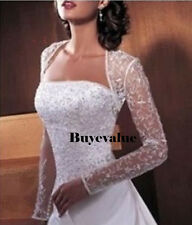 Lace Long Sleeves Bolero Shrug Jacket Stole Wedding Prom Party White Ivory New