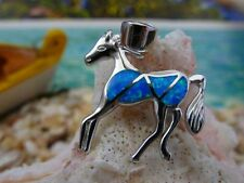 MAGNIFICENT STERLING SILVER BLUE OPAL HORSE PENDANT