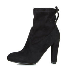 Womens Drawstring Tie Lace Up Chunky Thick High Heel Pull On Ankle Boot Booties