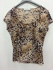NINE & Company by NINE WEST Poly Animal PRINT Brown TOP Blouse L Large NWOT
