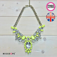 NEW Neon Yellow Crystal Wing Statement Necklace Choker Jewellery Women Ladies UK