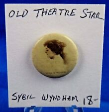 "Sybil Wyndham Theatre Star Old Pin Pinback Button 7/8"" Sweet Caporal Cigarette"