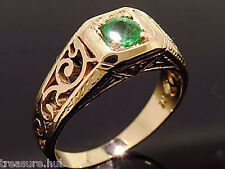 R140 Genuine 9ct Rose Gold NATURAL Emerald Solitaire Ring size Q Filigree scroll