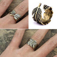 Hot New Charming Vintage Retro Bronze Women Lady Feather Leaf Ring Jewelry