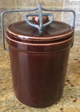 """Old Fashion Cheese Crock Brown Lidded With Wire Bail Lock 5.5"""" Tall"""